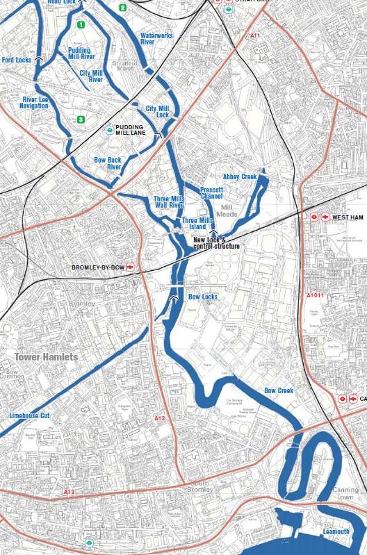 River Lea Map Mick Hartley: Bow Back Rivers River Lea Map