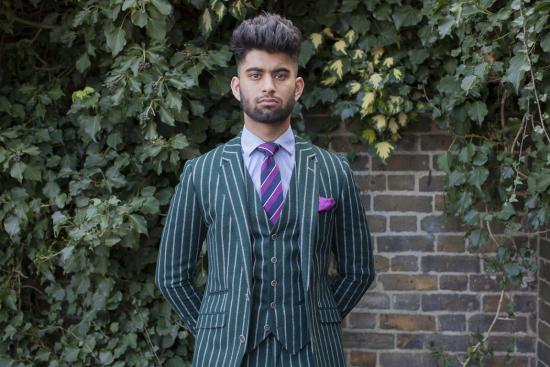 Mahtab-HussainGreen-chalk-stripe-suit