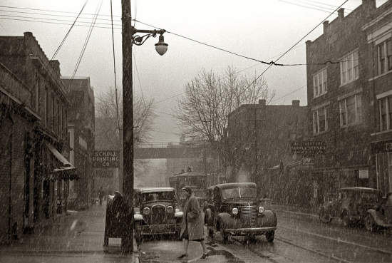 A snowy street in Parkersburg  West Virginia  February 1940. Arthur Rothstein